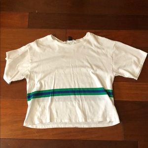 White with green and blue striped crop top